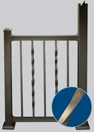 "Aluminum American  Tioga Twisted & Square  Railing LEVEL 36"" x 6"