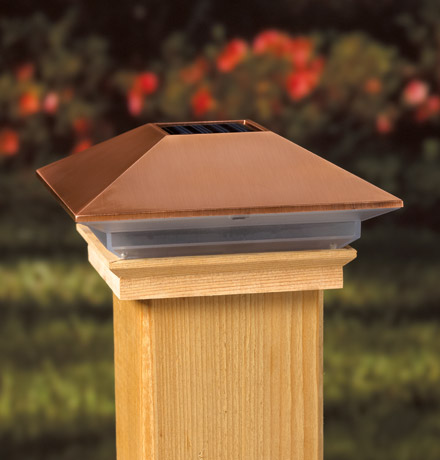 "Copper High Point Solar Post Cap 3-5/8"" Treated"