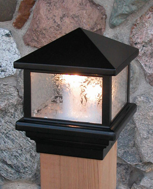 "Pyramid Glass Decklight-Black-5 1/2""-12 volt"