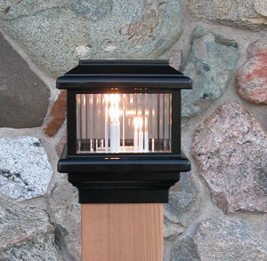 "Tall Flat Top Decklight-110v.Black (6"" wood)"