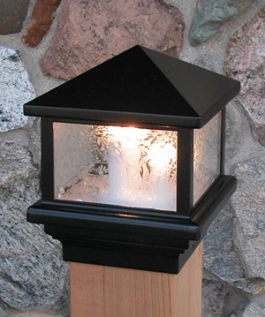 "Pyramid Glass Decklight-110 v. Black (5 1/2"" wood)"