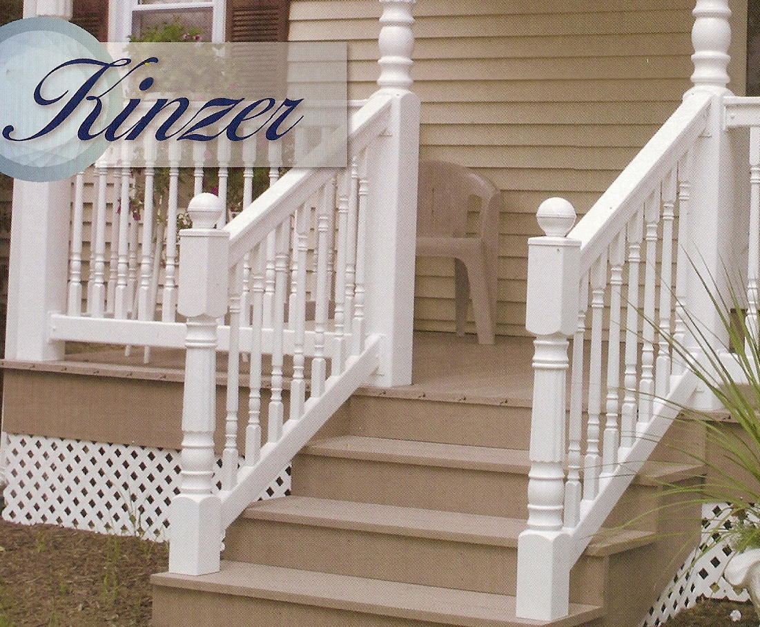 Kinzer step railing vinyl 36 x 6 t top stair box for 10 foot porch columns